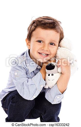 男孩, 很少, 他的, 特別喜愛, 玩具, 藏品, 可愛 - csp16333242