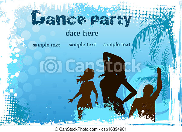 Grunge background with dancing people - csp16334901