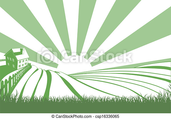 Sunshine Over Hill Fields - csp16336065