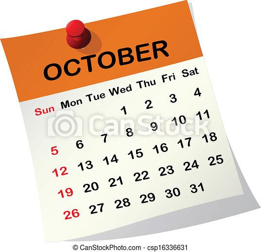 Vectors of 2014 calendar for October. - 2014 paper sheet calendar ...