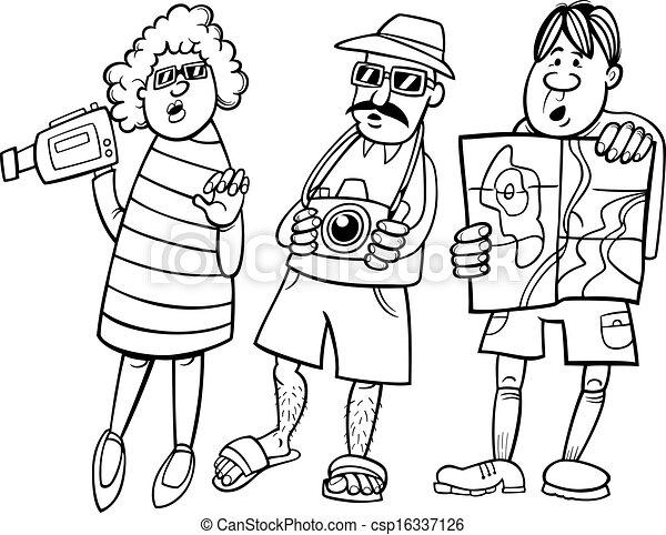 Vektor Illustration von Gruppe, Tourist, abbildung ...