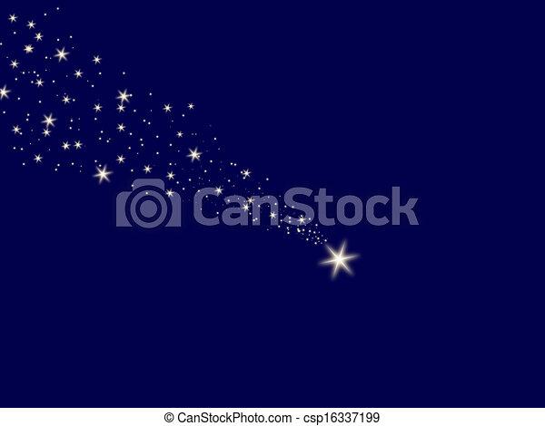 Falling star on the night sky blue - csp16337199