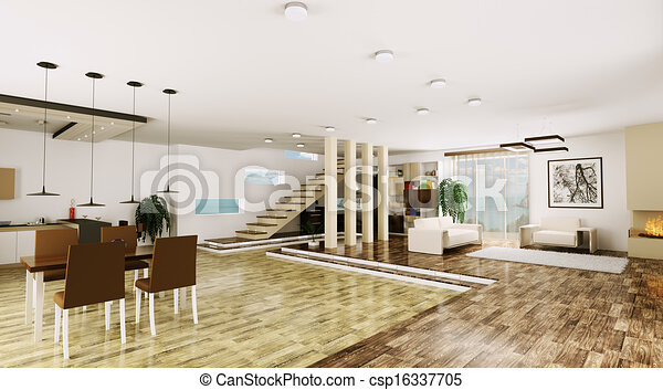 stock illustration von inneneinrichtung wohnung modern render 3d csp16337705 suchen. Black Bedroom Furniture Sets. Home Design Ideas