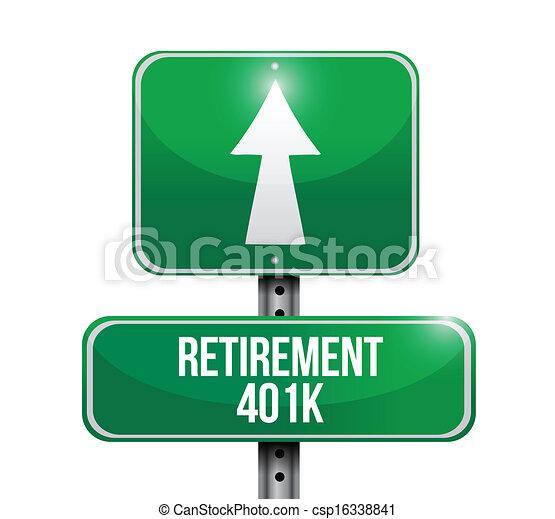 EPS Vector of retirement 401k road sign illustration design over white ...