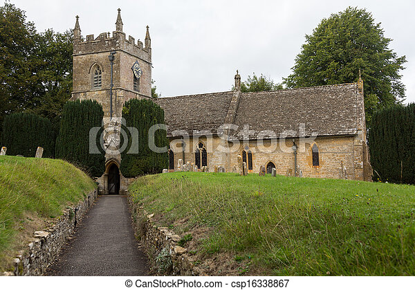 Old Church in Cotswold district of England - csp16338867