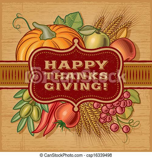 Happy Thanksgiving Retro Card - csp16339498