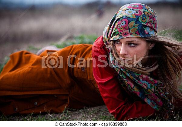 autumn fashion woman - csp16339883