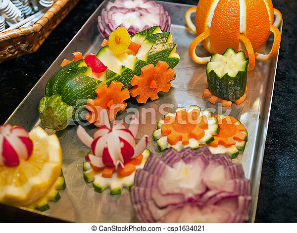 Stock fotografie von gemuese garnierung skulptur for Decoration de plat avec des legumes