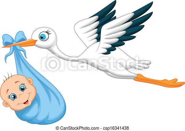 Vectores de Cigüeña, bebé, caricatura - vector, Ilustración, de ...