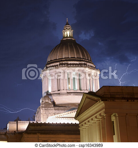 The Government Building in Olympia stands tall during a thunderstorm and inclement weather - csp16343989