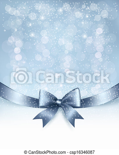 Christmas Holiday background with gift glossy bow and ribbon. Vector - csp16346087