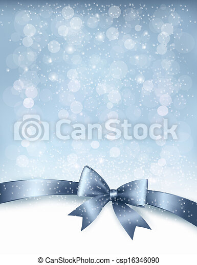 Christmas Holiday background with gift glossy bow and ribbon. Vector - csp16346090