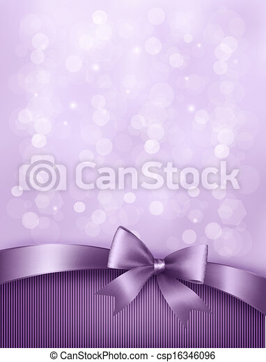 Elegant holiday background with gift bow and ribbon. Vector - csp16346096
