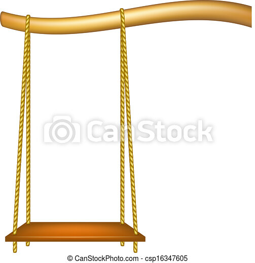 Vector Clipart Of Wooden Swing Hanging From The Bough Of A