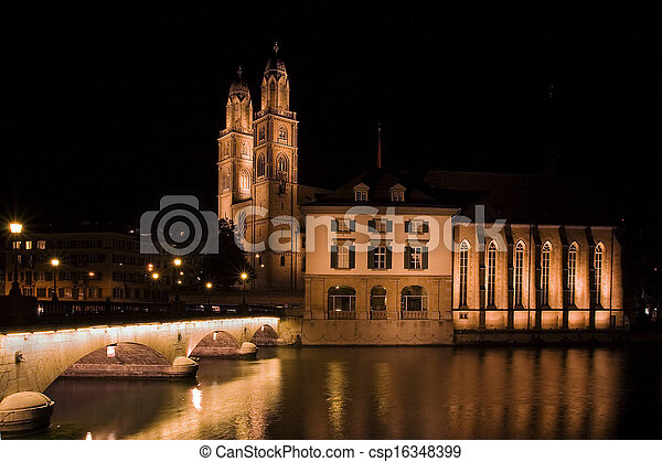 Grossmunster (The Great Cathedral) is the most representative landmark of Zurich city, Switzerland. - csp16348399
