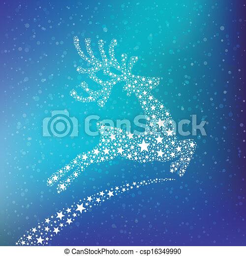 stars reindeer winter background - csp16349990