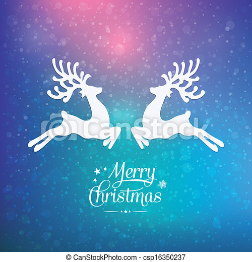 merry christmas reindeer colorful winter background - csp16350237