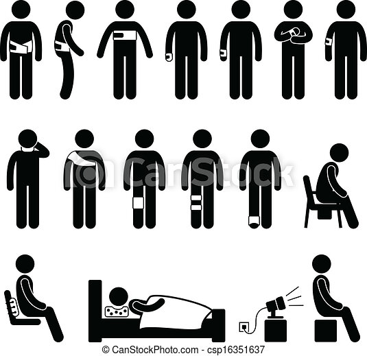 Vectors of Human Body Support Pain Injury - A set of pictograms ...
