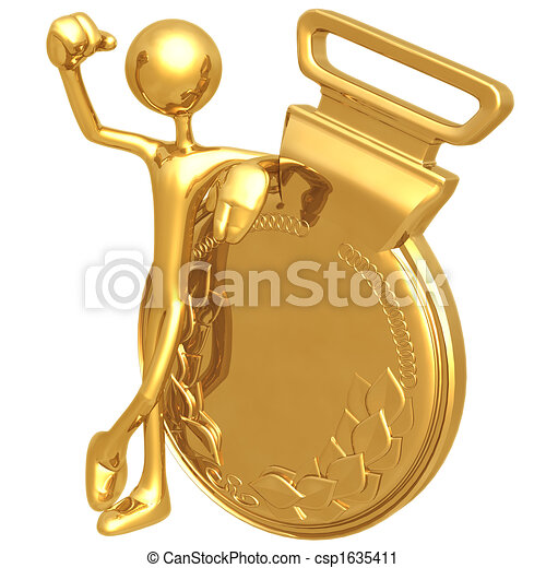 Clipart of Gold Medal Winner - 3D Concept And Presentation ...