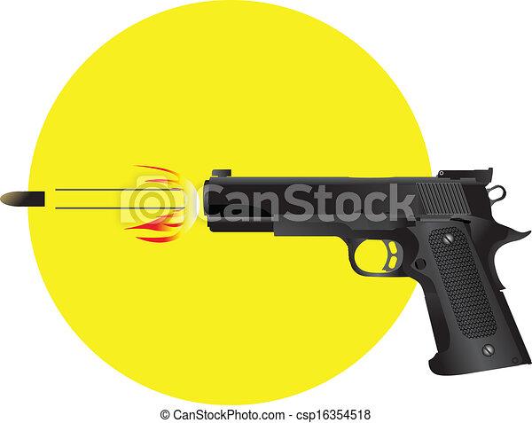 銃, 発砲, 銃弾 - csp16354518 銃, 発砲, 銃弾, ベクトル, イラストお気に