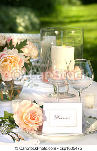 Place setting and card on a table - csp1635475