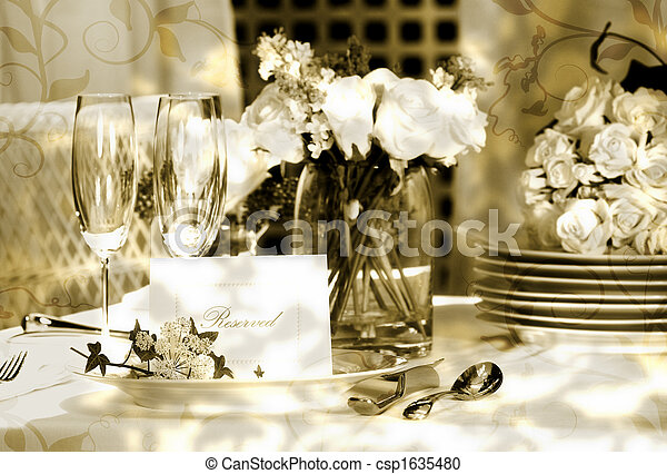 White place card on outdoor wedding table - csp1635480