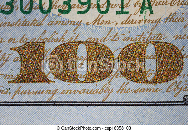 NEW US ONE HUNDRED DOLLAR BILL DETAIL - csp16358103