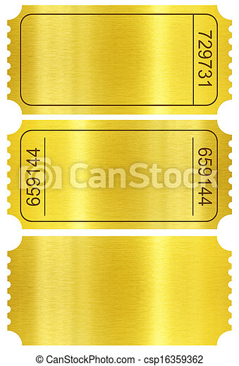 Ticket set. Golden ticket stubs set isolated on white included. - csp16359362