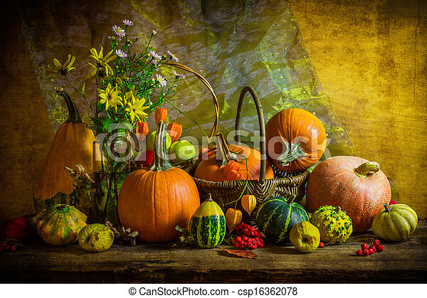 Halloween autumn fall pumpkin setting table still life vintage - csp16362078