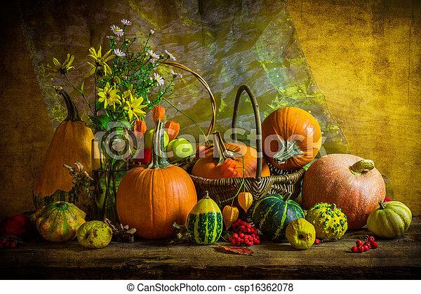 Halloween autumn fall pumpkin setting table still life vintage - csp16362078
