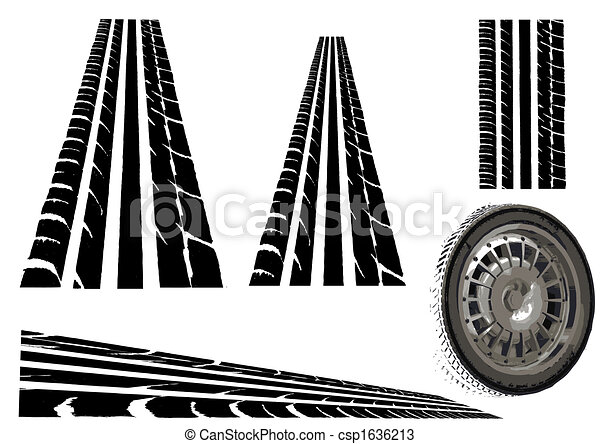 Car Tyre and tyre tracks - csp1636213