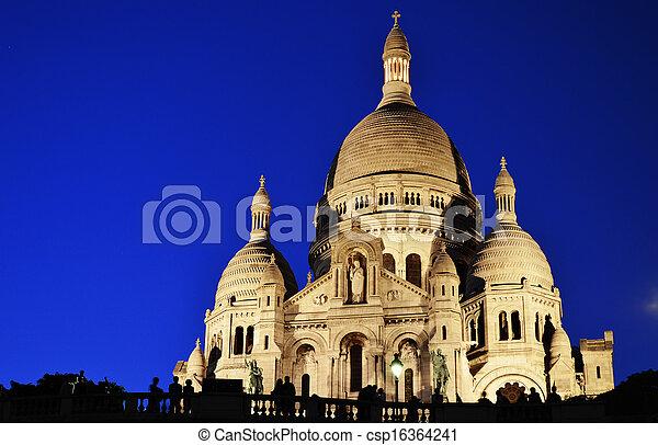 Basilica Sacre Coeur (Sacred Heart) Montmartre in Paris - csp16364241