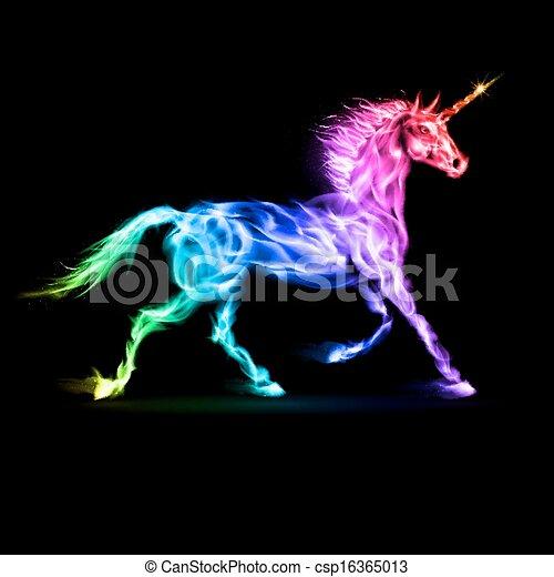fuego, unicornio, en, espectro, colores, en, negro, Plano de fondo