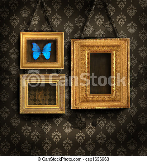 Three gilded frames on antique wallpaper - csp1636963