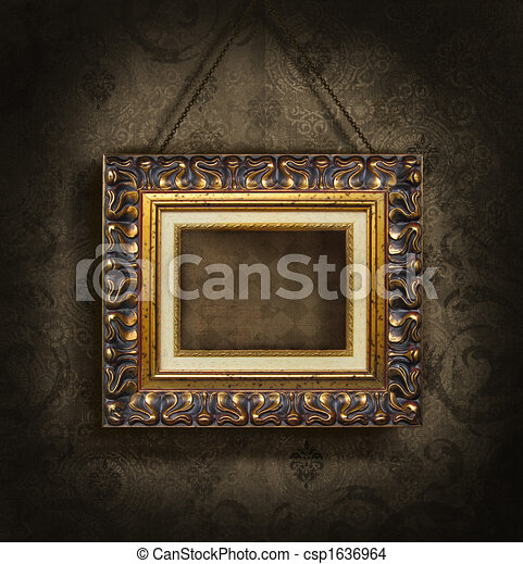 Gold picture frame on antique wallpaper - csp1636964