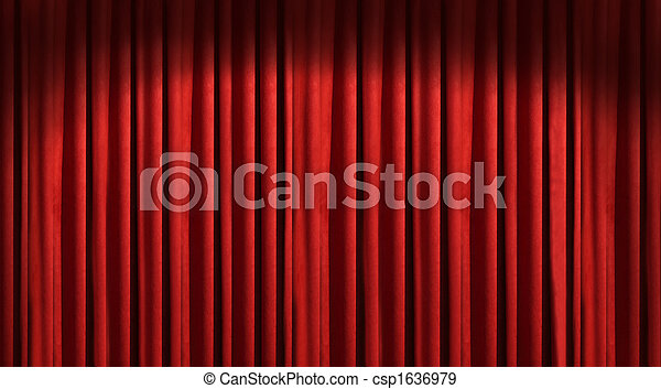 Red theater curtain with dark shadows - csp1636979