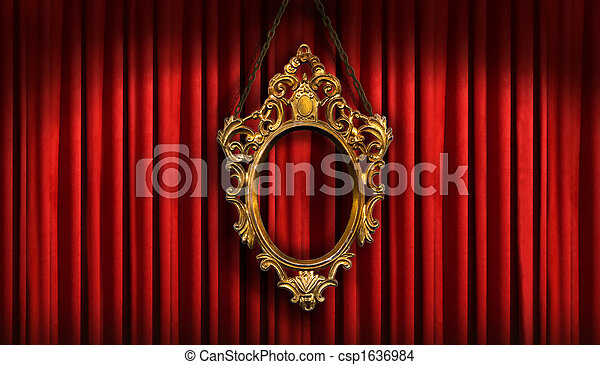 Red drapes with old gold frame - csp1636984