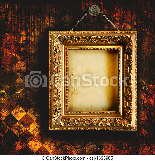 Grungy tattered wallpaper with empty picture frame - csp1636985