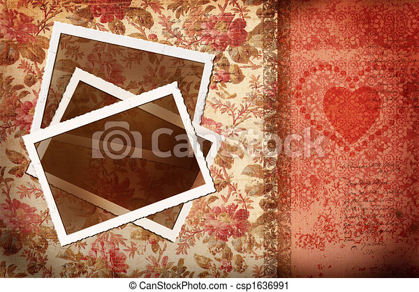 Photos on antique floral background - csp1636991
