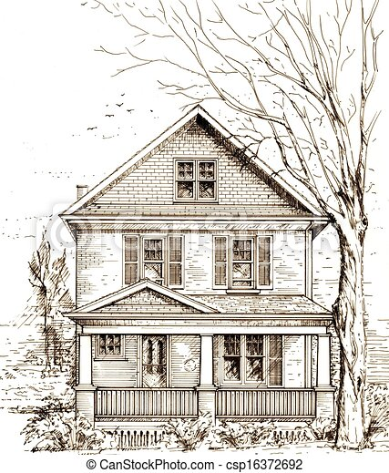 Front Porch Clipart stock illustration of house with front porch - pen and ink drawing