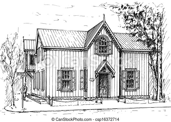 Clipart of Street Corner - pen and ink sketch of old wooden ...