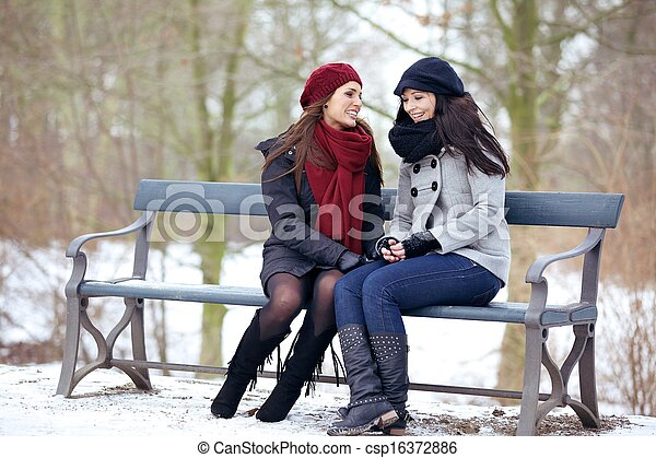 Two Bestfriends Sitting on a Park Bench - csp16372886