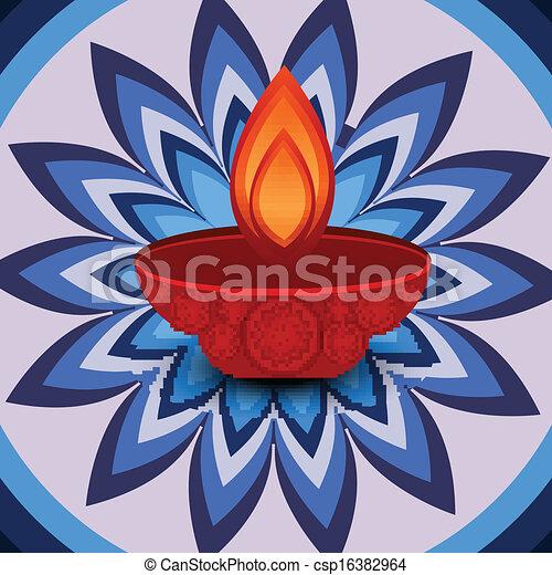Vector Rangoli Design Stock Vector Diwali Lamp Beautiful