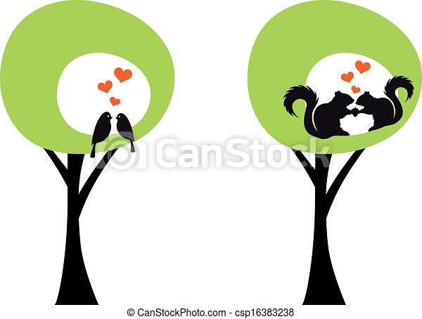 árvores, Pássaros, esquilos, vec - csp16383238