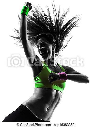 kvinna, silhuett,  zumba, dansande, exercerande,  fitness - csp16383352
