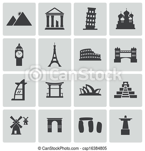 Vector black landmark icons set - csp16384805
