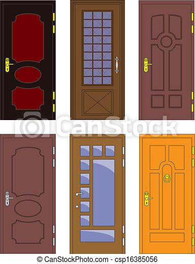 Classic Interior And Front Wooden Doors Vector Csp