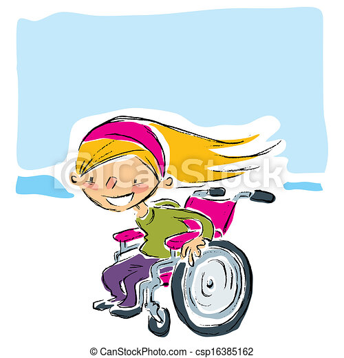 Happy cartoon smiling blonde girl in a manual magenta wheelchair moving fast   - csp16385162
