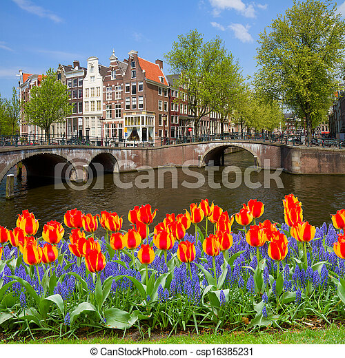 bridges of canal ring, old town of  Amsterdam - csp16385231