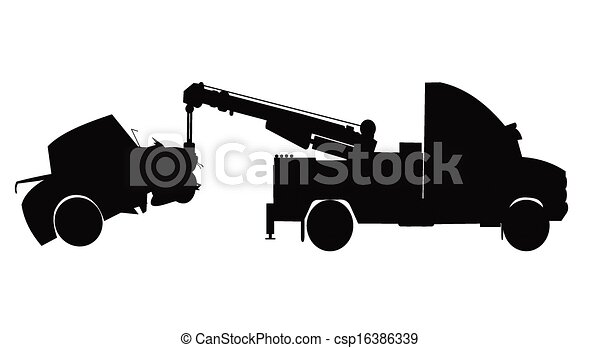 X 15 Crash Vectors of car accident - car being towed from accident in silhouette ...